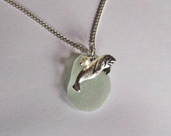 Manatee necklace. Sea foam sea glass necklace. Beach glass jewelry - Manatee jewelry.
