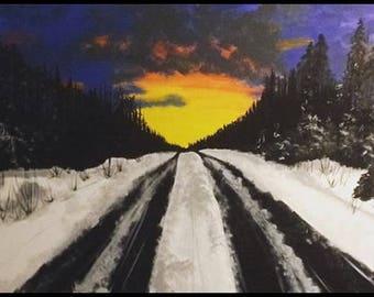 Alaska drive with the sunset