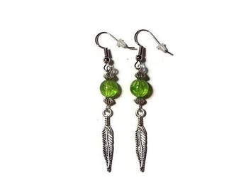 Feather earrings, green bead earrings