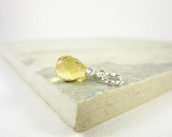 Sm - Sterling Silver Pendant - November Birthstone Jewelry - Natural Citrine Jewelry - Yellow Citrine Pendant - Light Yellow Pendant