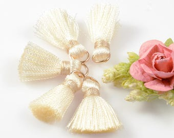 "2cm or 3/4"" Silk Tassel, Small Ivory Color Tassel, Mini Silk Tassel, Tassel Earrings, Tassels for Jewelry Making"