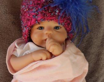 Newborn baby girl hat, newborn girl shower gift, baby girl hat, baby girl photo prop, ready made baby girl winter hat, girl baby pink hat