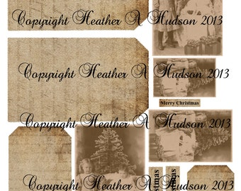 Shabby Vintage Victorian Boy and Girl Children sepia Christmas Tags Digital Collage sheet