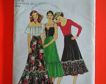 "70s Ruffle SKIRTS, Maxi & below knee length, Size 10, Waist 25"", Style 2135."