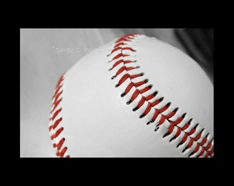 Baseball Photography-Red-White-Gray-Sports Wall Decor-Fine Art Print-Boys Room Wall Art-Sizes Up to 24x36-Gifts for Men-Athletic  Wall Art