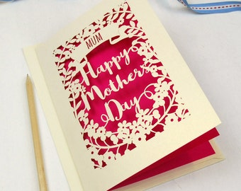 Personalised Papercut Happy Mother's Day Card, Laser cut mummy card, sku_floral_mothers_day