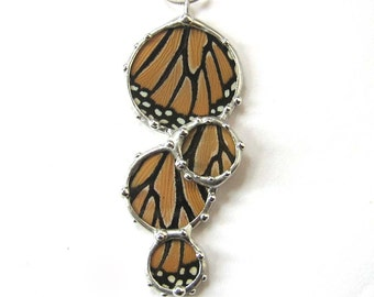 Real Butterfly Wings Necklace - Monarch Butterfly Cluster