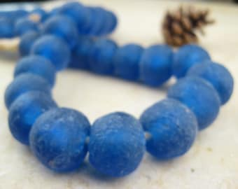 Blue Recycled Glass Beads: World's Most Eco-Friendly Beads! Ghana Beads - African Beads - Wholesale Glass Beads - Made of Bottles 566