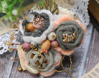 Grey peach flower brooch Lapel Pin Scarf pin Fabric flower pin Bohemian brooch Handmade brooch Textile pin Vintage brooch Fiber art corsage