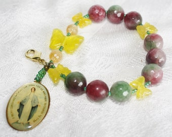 Blessed Mother Watermelon Tourmaline Prayer Beads