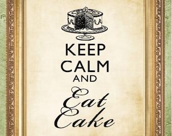 Saying Art Print Keep Calm and Eat Cake  Keep Calm Print