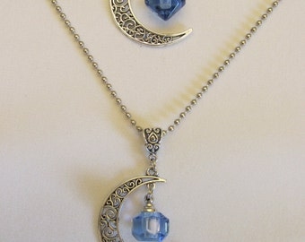 Cremation Urn Necklace with Mini Crystal Vial and Crescent Moon Pendant