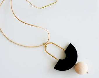STILL NECKLACE N0. 1 | black necklace, circle, black and beige, minimalist necklace, geometric, long necklace, modern, arch necklace |