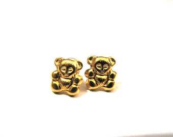 Vintage Gold Tone Teddy Bear Stud Post Pierced Earrings