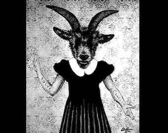 "Print 8x10"" - The Baphomet - Goat Animal Pagan Folklore Evil Demon Satan Devil Gothic Dark Art Horror Cute Dress Vintage Lucifer Creepy"