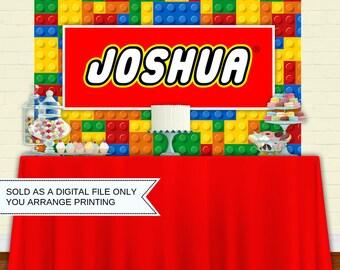 Printable Building Blocks Backdrop   Party Banner   Poster   Signage   Personalised   Printable Backdrop   Birthday Backdrop