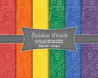 INSTANT DOWNLOAD: Rainbow Circuit Board Robot Digital Scrapbook Paper 6 Pack