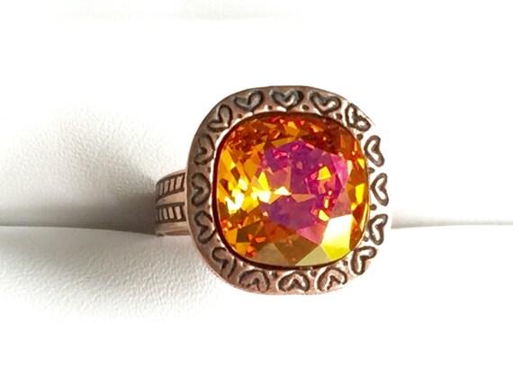 Astral Pink Crystal Ring, Swarovski Astral Pink Ring, Swarovski Pink Crystal Ring