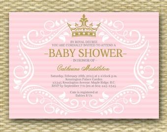 Royal Princess Baby Shower Invitation Little Princess Baby Shower Invite Pink Gold Purple Gold, ANY COLORS, Printable or Printed