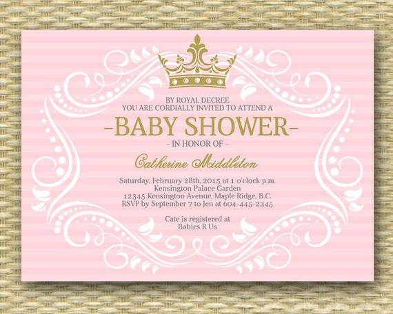 Royal Princess Baby Shower Invitation Little Princess Baby