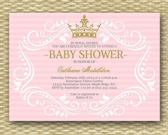 Superb Royal Princess Baby Shower Invitation Little Princess Baby