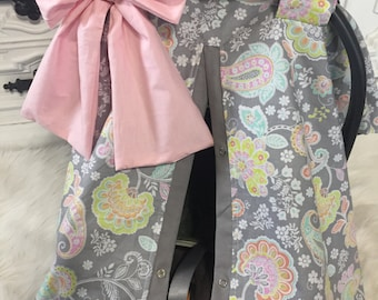 Carseat Canopy Baby pink and Grey  STUNNING car seat cover / carseat cover /carseatcover /carseat canopy