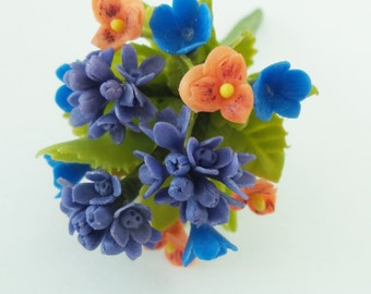 Miniature Polymer Clay Flowers Bouquet, Hydrangea and Pansy, Supplies for Dollhouse and Handmade Gifts 1 Bunch