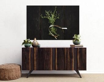 thyme // food photography print // kitchen decor // dining room // canvas art // canvas print // rustic farmhouse wall art