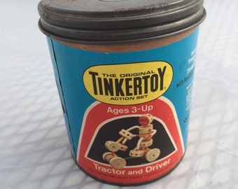 1970s Vintage Tinker Toy Tractor and Driver Set, No. 195, Tinker Toy Action Set