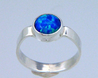 Imitation Blue Opal in Solid Sterling Silver Band Ring - Handmade in USA by Me - October Birthstone - FREE Shipping