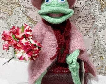FELLOW, author's knitted toy, frog