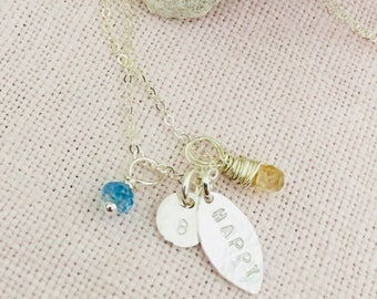 Be Happy Sterling Silver Necklace with Blue Topaz and Citrine Gemstones, Carma Necklace