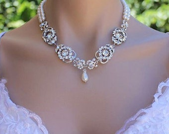 Crystal Bridal Necklace, Vintage Wedding Jewelry, Bridal Pearl and Crystal Necklace, LONDON 2