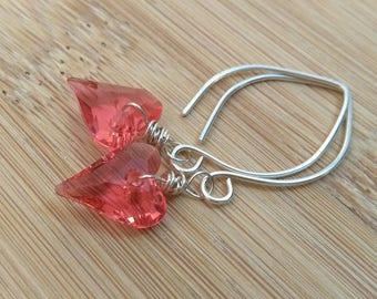 Wild Heart Earrings. Swarovski Earrings. Sterling Silver Earrings. Valentine's Day Jewelry. Pink Heart. Glass Earrings. Romantic Earrings.