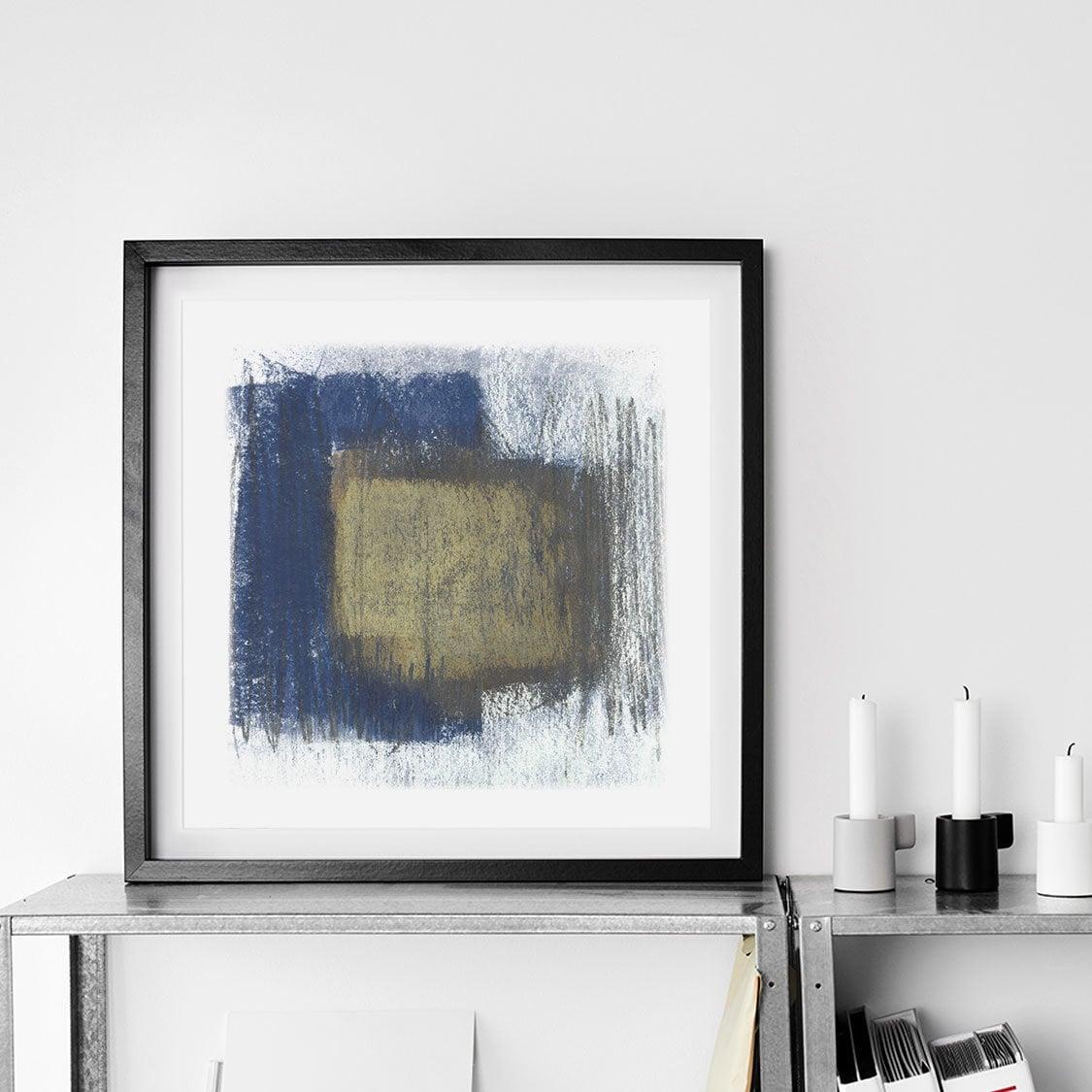 Indigo Beige Square Art Print
