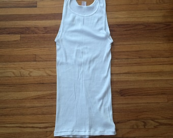 Vintage Hane's White 100% Cotton Ribbed Tank Top (80's)