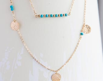Coin turquoise bar necklace, 2 strand necklace, gold minimalist turquoise bar layering necklace for her, golden disc gift necklace for her