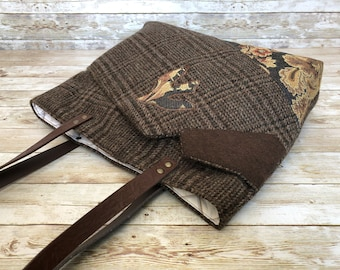 tweed purse, wool purse, upcycled suit, brown tote bag, recycled bag, upcycled suit jacket, eco friendly purse, brown purse, winter purse
