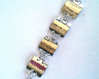 Artisan Sterling Silver linked squares bracelet