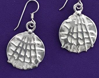 Round Spider Web Earrings - Dangle Spider Web Earrings - Halloween Jewelry - Textured Round Earrings - Circle Shape Earrings