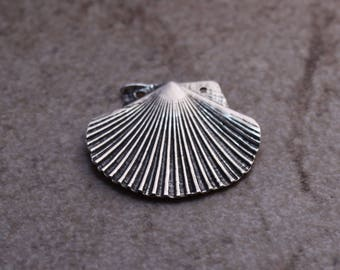 Scallop Shell Pendant, Sterling Silver, Ocean, Beach, Lost Wax Cast, Artisan, P18
