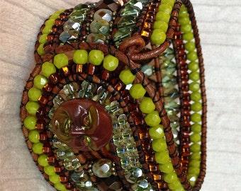 FOREST, Beaded Bracelet, Beaded Cuff, Man in the Moon, Czech Glass Bracelet, Wide cuff bracelet, Green Bracelet, Twinkling Of An Eye, OOAK