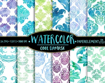 Digital Watercolor Damask Paper Pack - Damask Water Color Prints - Aquatic Damask Backdrops with Sea Green, Ocean and Sky Blue and Purple