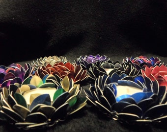 Custom Chainmaille Lotus Candle Holder Set