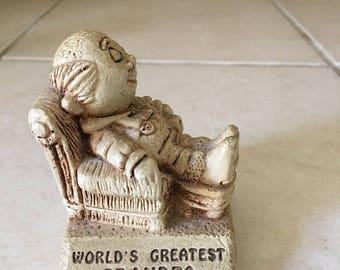 Vintage Paula Co World's Greatest Grandpa - Circa 1970 Made in the USA - Plastic Figurine - Father's Day - W-178