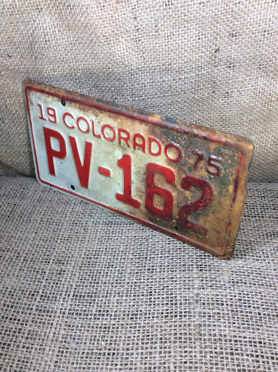 Vintage Colorado motorcycle plate, 1975 red and white Colorado license plate, vintage motorcycle license plate, PV-162 license plate