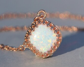 Rose Gold Lab Created Opal Necklace,Cushion Cut White Opal Gemstone Necklace,Opal Pendant,Fire Opal,October Birthstone,Crown Setting