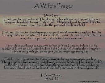 A Wife's Prayer Digital Print, Prayer for Husband Download, Christian Wife's Prayer Art, Marriage Prayer Digtal Download Wall Art