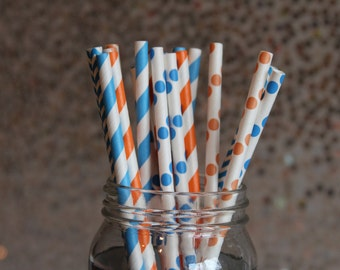 Paper Straws/Drinking Straws/Orange and Blue Paper Straws/Themed Paper Straws/Orange Straws/Blue Straws/Striped Paper Straws/Surfs Up Straws