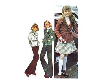 1970s Girls Sweater Jacket Skirt Pants McCalls 5214 Vintage Sewing Pattern Size 12 Breast 32 UNCUT